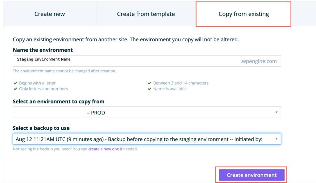 How to create staging environment in WPEngine